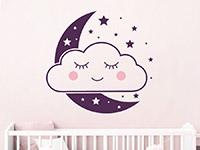 Wandtattoo Wolkengesicht mit Mond und Sternen im Kinderzimmer