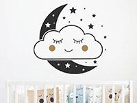 Süßes Wandtattoo Wolkengesicht mit Mond und Sternen auf hellem Hintergrund