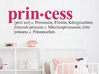 Wandtattoo Princess im Kinderzimmer
