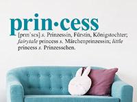 Zweifarbiges Wandtattoo Princess auf heller Wand