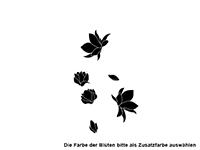 Wandtattoo Notenschlüssel Ornament mit Blüten Motivansicht