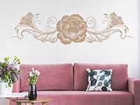 Wandtattoo Ethno Blumenornament im Wohnzimmer