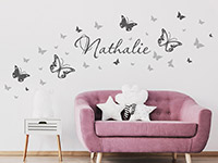 Wandtattoo Schmetterlinge mit Wunschname | Bild 3