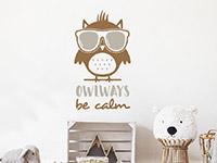Eulen Wandtattoo Owlways be calm auf heller Wand