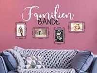 Fotorahmen Wandtattoo Familienbande auf farbiger Wand