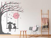 Wandtattoo Baum mit Schaukel, Mädchen und Katze | Bild 2