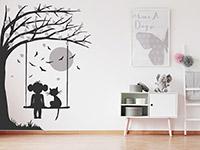 Wandtattoo Baum mit Schaukel, Mädchen und Katze | Bild 3