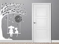 Wandtattoo Baum mit Schaukel, Mädchen und Katze | Bild 4