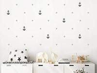 Wandtattoo Anker mit Punkten im Kinderzimmer