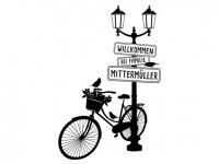 Wandtattoo Laterne mit Fahrrad und Name Motivansicht