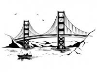 Wandtattoo Golden Gate Bridge mit Schiff Motivansicht