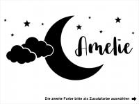Wandtattoo Mond mit Wolken und Wunschname Motivansicht