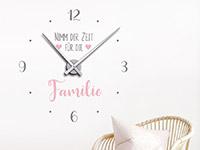Wanduhr Uhr Zeit für die Familie Wandtattoo