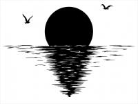 Wandtattoo Traumhafter Sonnenaufgang am Meer