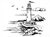 Wandtattoo Leuchtturm Landschaft am Meer Motivansicht