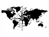 Wandtattoo Weltkarte Himmelsrichtungen Motivansicht