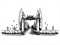 Wandtattoo Tor zum Garten mit Familienname Motivansicht