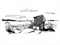 Wandtattoo Strandkorb am Meer Motivansicht