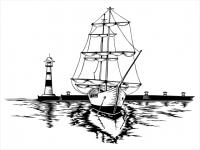 Wandtattoo Segelschiff am Hafen Motivansicht