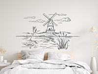 Wandtattoo Landschaft mit Windmühle   Bild 2