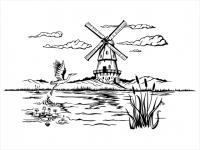 Wandtattoo Landschaft mit Windmühle und Kranich Motivansicht