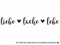 Wandtattoo Liebe Lache Lebe mit Herzen Motivansicht
