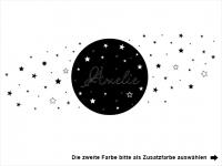 Wandtattoo Mond und Sterne mit Wunschname Motivansicht