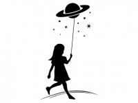 Wandtattoo Mädchen mit Sternen Motivansicht