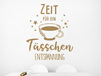 Kaffee Wandtattoo Ein Tässchen Entspannung auf heller Wand
