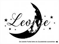 Wandtattoo Mond mit Name und Sternen