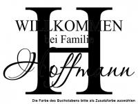 Wandtattoo Familienname mit Buchstabe Motivansicht