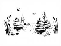 Wandtattoo Landschaft mit Zen Steinen Motivansicht