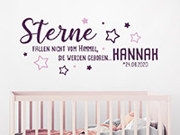 Wandtattoo Sterne fallen nicht vom Himmel mit Name im Kinderzimmer