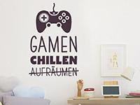 Wandtattoo Gamen und Chillen im Kinderzimmer