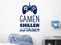Gamer Wandtattoo Gamen und Chillen auf heller Wand