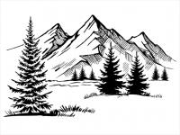 Wandtattoo Berglandschaft mit Tannen Motivansicht