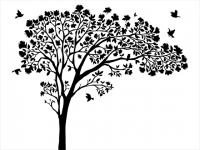 Wandtattoo Blätterbaum mit Blüten und Vögeln Motivansicht
