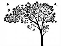 Wandtattoo Verzweigter Blütenbaum mit Vögeln