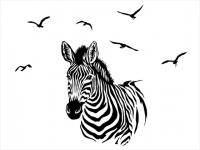 Wandtattoo Zebra mit Vogelschwarm Motivansicht
