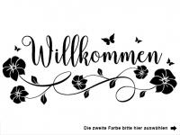 Wandtattoo Willkommen mit Blütenranke Motivansicht