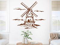 Windmühlen Wandtattoo auf heller Wandfläche