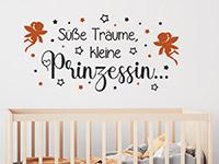 Feen Wandtattoo Süße Träume kleine Prinzessin auf heller Wand