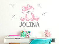 Wandtattoo Frosch mit Wunschname in rosa