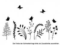 Wandtattoo Wildblumen mit Schmetterlingen Motivansicht