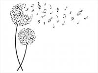 Wandtattoo Blüten mit Noten Motivansicht