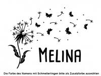 Wandtattoo Süße Pusteblume mit Schmetterlingen Motivansicht