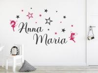 Wandtattoo Doppelname mit Sternen auf heller Wand