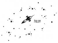 Wandtattoo Rakete mit Sternen und Name Motivansicht