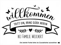 Wandtattoo Willkommen mit Familienname Motivansicht