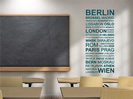 wandtattoo hauptstdte im klassenraum der schule - Kinderzimmer Dekoration In Schulen